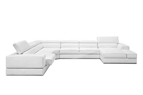 Modern White Bonded Leather Sectional Sofa Divani Casa Pella Modern White Bonded Leather Sectional Sofa