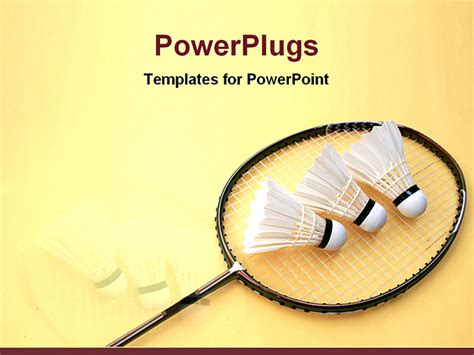 Best Powerpoint Template A Badminton Bat With Feathers Badminton Ppt Templates Free