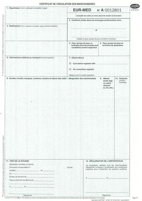 certificat d origine chambre de commerce gmj documents et formulaires douaniers