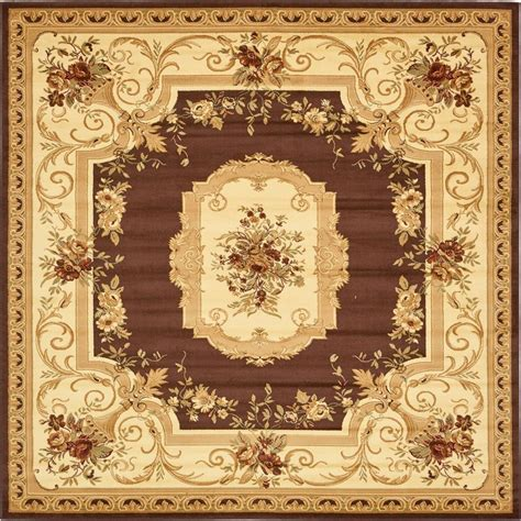 10 X 10 Ft Square Rug - unique loom traditional versailles brown 10 ft x 10 ft