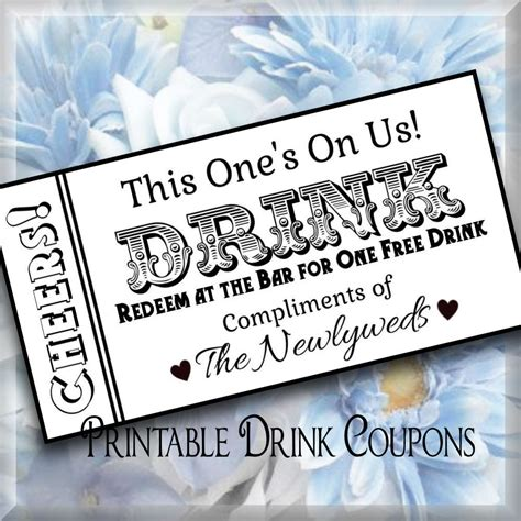 drink token template drink tickets diy wedding printable instant digital