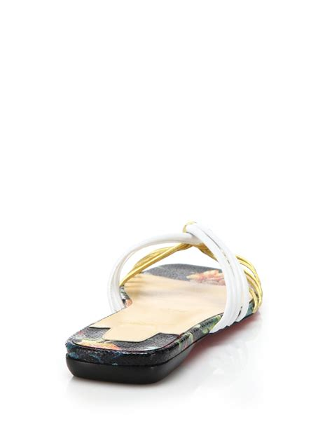 christian louboutin sandals christian louboutin strappy metallic leather flat sandals