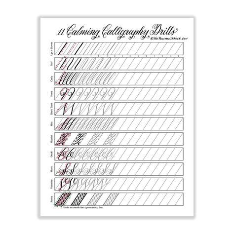 printable practice calligraphy sheets 11 calming calligraphy drills printable