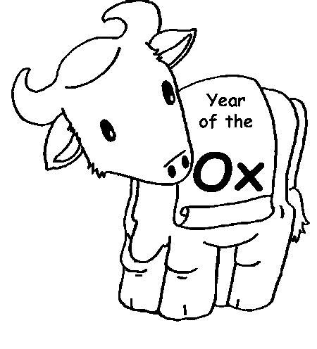 new year of the ox 2009 ox year colouring pages