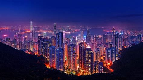 Outdoor Lighting Hong Kong Hong Kong At Lighting Buildings Skyscrapers Port Wallpaper For Desktop 1920x1200