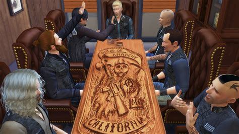 Sons Of Anarchy Meeting Table Mod The Sims Carved Reaper Table Sons Of Anarchy S Table
