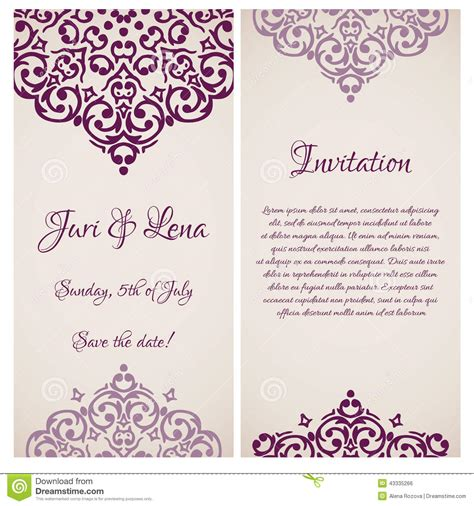 Wedding Invitation Banner Design by Baroque Damask Wedding Invitation Banners Stock Vector