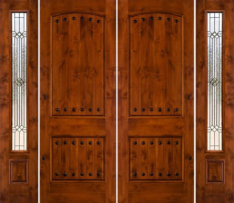 glasses with lights on the side varnished teak wood front doors with textured glass