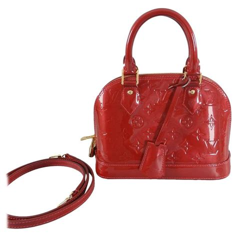 louis vuitton alma bb in cherry vernis mini size at 1stdibs