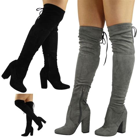 womens thigh high boots womens the knee thigh high boots lace up block