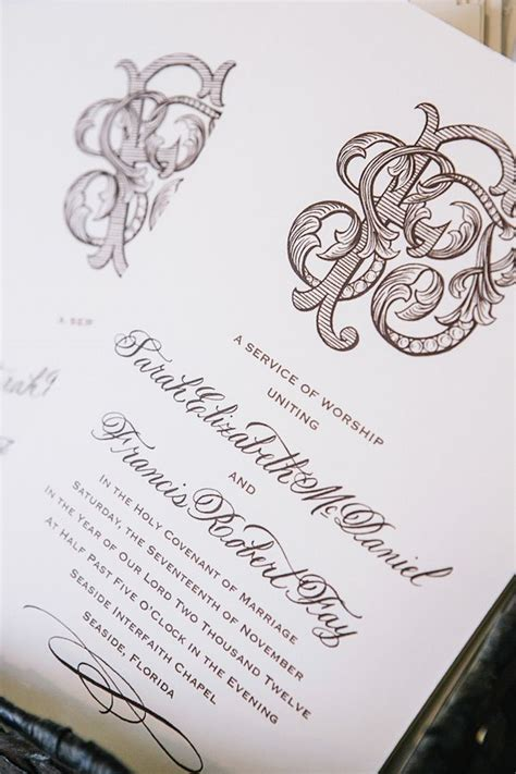 monogram wedding invitations and brown wedding invitation with intricate monogram
