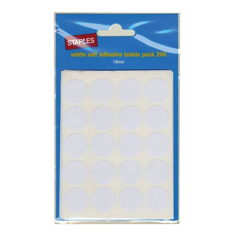 Self Adhesive Labels staples self adhesive labels circles 19mm white package 200 each staples 174