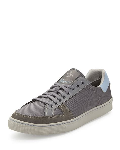 penguin sneakers lyst original penguin prave lace up sneaker in gray for