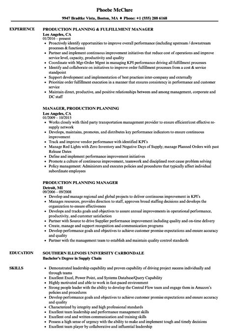 resume format for production planning engineer production planning resume sles velvet