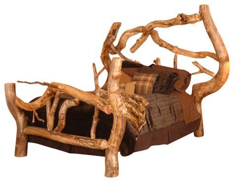 rustic log bed frames free form aspen log bed rustic panel beds