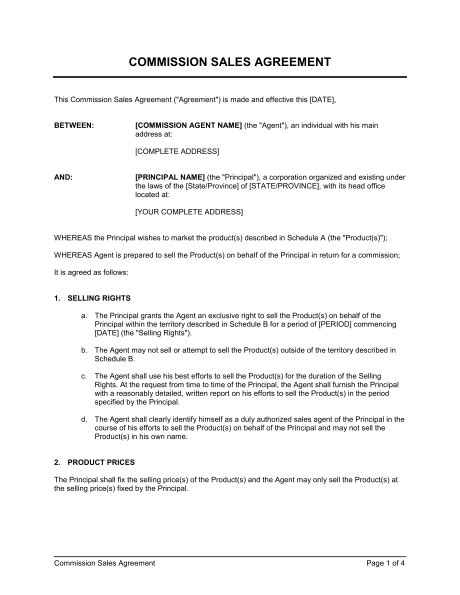 commission agreement template commission sales agreement template sle form