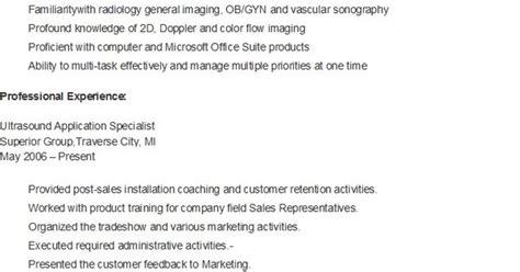 sle ultrasound application specialist resume resame