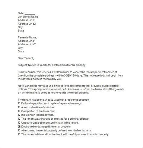 notice vacate templates docs excel word