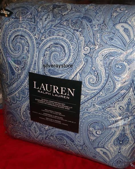 ralph lauren paisley comforter set ralph lauren blue paisley 4 piece queen comforter sham