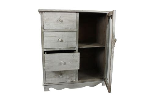 meuble bas tiroirs meuble bas rangement bois ceruse blanc 4 tiroirs 80x40x90cm