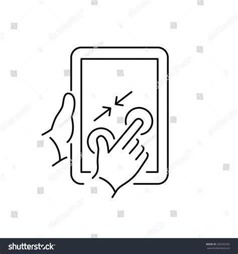 layout pinch zoom vector linear tablet icon two fingers stock vector