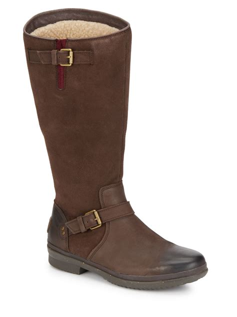 ugg thomsen uggpure lined suede leather boots in brown