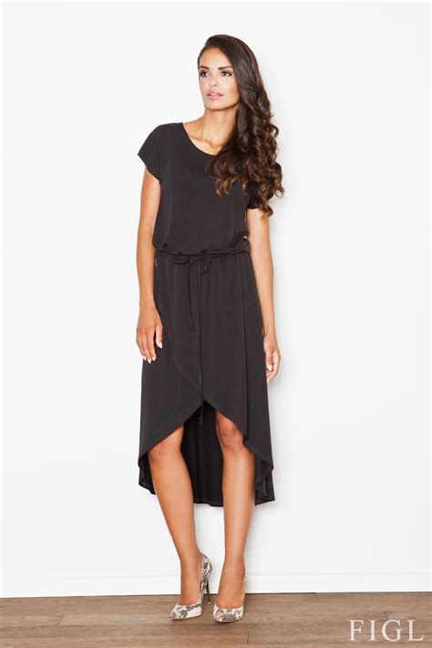 trendy black dress with drawstring belt and overlap skirt