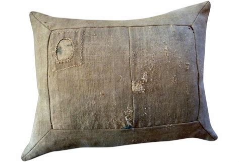 The Sac Pillow Plain Patched Vintage Grain Sack Pillow Omero Home