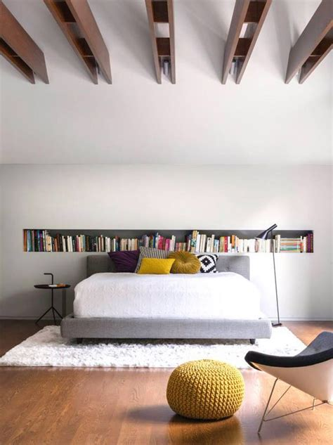 recessed bookcases in bedroom home inside space recessed shelf behind bed interior decor pinterest