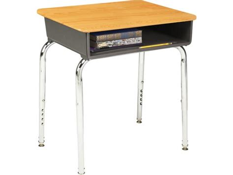 Adjustable Height Open Front School Desk Woodstone Top Classroom Student Desk