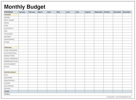 templates for budgets monthly blank monthly budget template pdf slebusinessresume