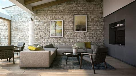 vorschlaege wandgestaltung wohnzimmer mit stein