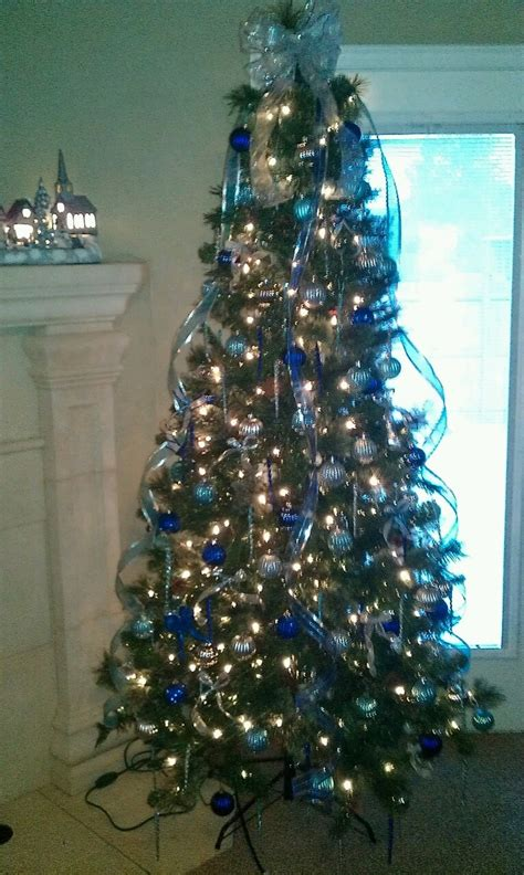 blue and silver christmas tree christmas pinterest