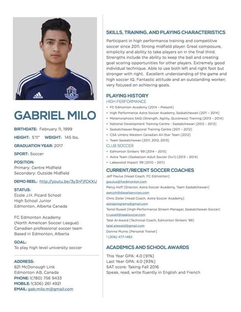 College Soccer Resume Best Resume Collection College Soccer Player Profile Template