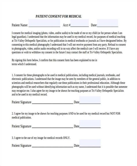 patient consent form template consent form templates