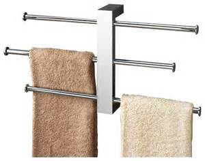 polished chrome wall mounted towel rack with three 16 inch