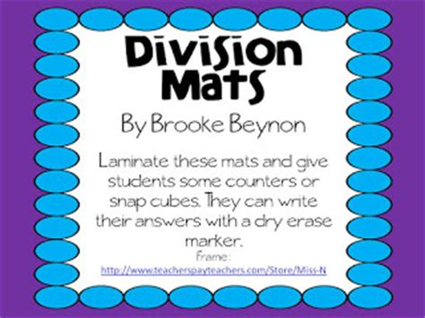 Division Mat by Teachable Moments Freebie Friday