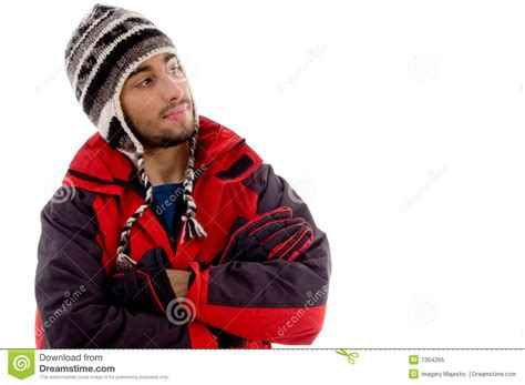 Wears A by Handsome Wearing Woolen Cap And Winter Jacket Stock