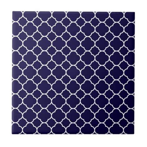 Navy Patterned Tiles | navy blue quatrefoil pattern ceramic tiles zazzle