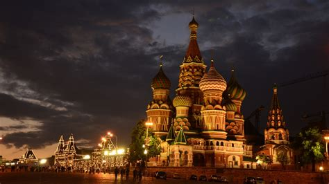 moscow russia st basil s cathedral red square night city