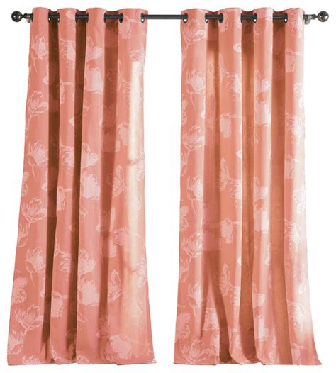 coral drapery panels aster panels bright coral set of 2 contemporary