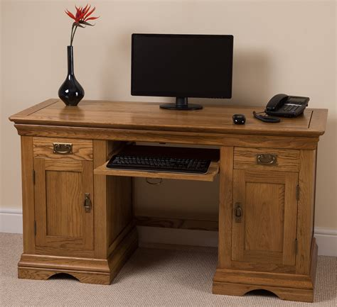 Big Computer Desk | french rustic solid oak wood large computer desk office