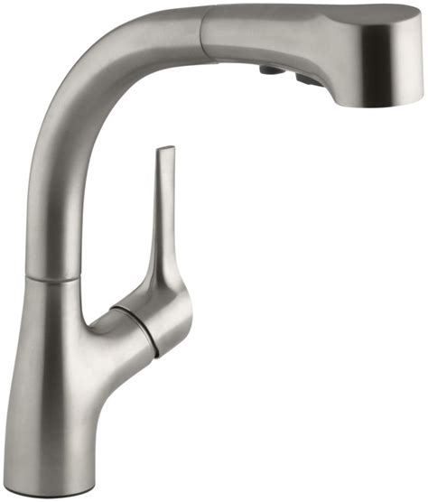 Kohler K 13963 VS Vibrant Stainless Elate Kitchen Sink Faucet with Pullout Spray Spout, Lever