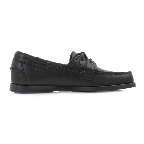 mens sebago dockside black leather casual boat deck shoes