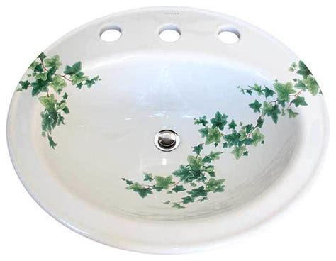 painted drop in basin traditional bathroom