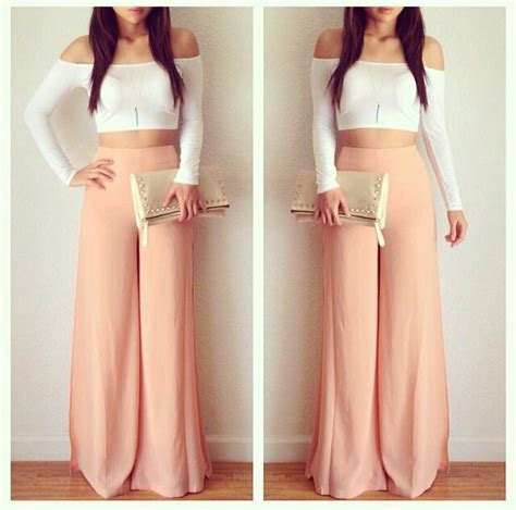 light pink palazzo pants long loose light pink pants white crop top