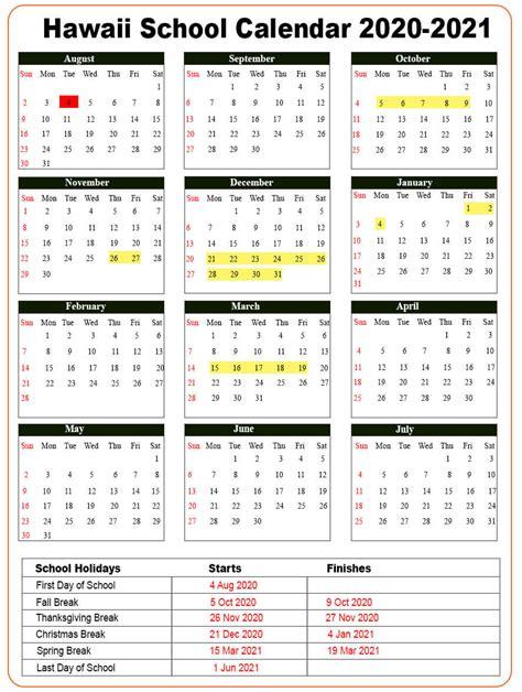 hawaii school holidays calendar   nyc school calendar