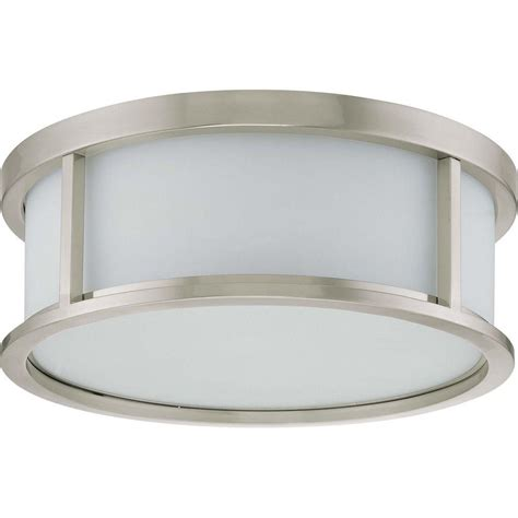 home depot dome light glomar 3 light brushed nickel flush dome with satin white