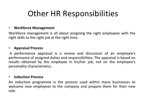 Mba Hr Description by Hr Project Recruitment Process And Other Responsibilities