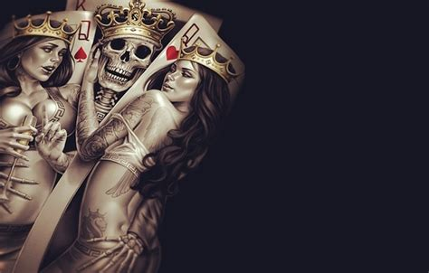 wallpaper king queen bones sake cup poker tattoos